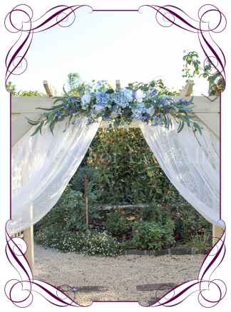 Silk artificial light blue and white wedding arbor arch garland decoration. Buy online. Shipping worldwide.