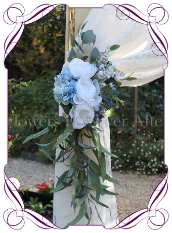 Silk artificial light blue and white wedding arbor arch tie back decoration. Buy online. Shipping worldwide.