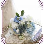 Silk artificial bridesmaids posy bouquet with light blue, navy and white flowers for wedding bridal work. With hydrangea, dahlia, roses, lily of the valley. Buy online. Made in Melbourne.