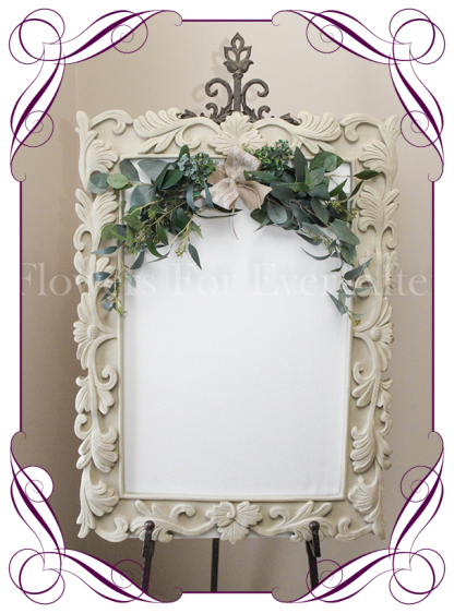 Silk artificial Australian gum foliage wedding event sign garland frame decoration
