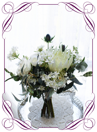Silk artificial ivory protea with peonies roses and thistle, with Australian native gum leaves. Buy online.
