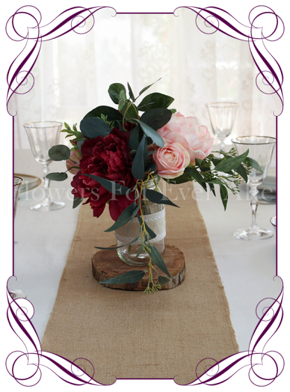 Burgundy and blush rustic silk artificial table posy centrepiece decoration.