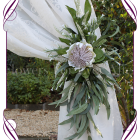 Ivory white silk artificial protea & rustic native gum foliage wedding arbor / arch tie back decoration. Made in Melbourne. Buy online