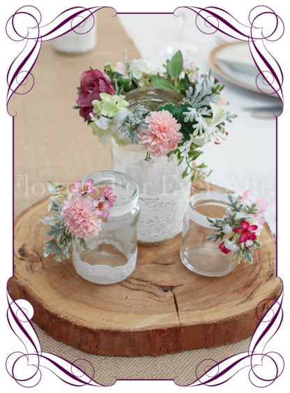 Pink rustic lace tealight jars table wedding centrepiece decorations. Buy online.