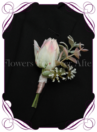 Silk artificial blush pink protea groom / groomsmans / gents wedding button boutonniere for wedding formal prom. Buy online.