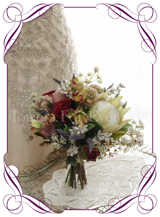Silk artificial mixed colour protea bouquet. Blush, burgundy lavender green ivory wedding bridal posy bouquet. Buy online