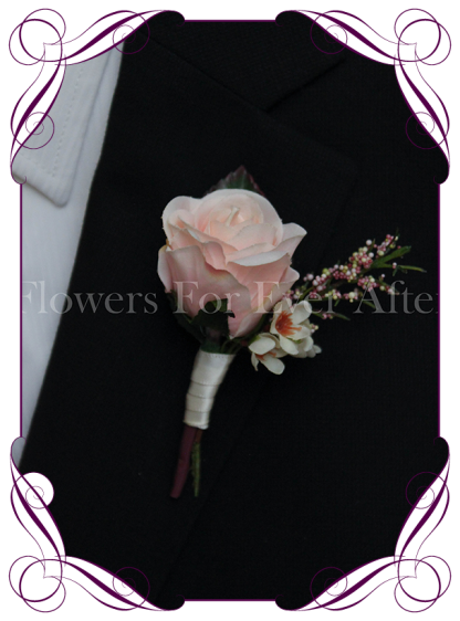 Silk artificial blush pink and ivory groom / groomsmans / gents wedding button boutonniere for wedding formal prom. Buy online.