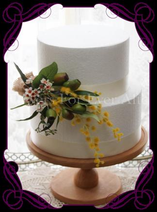 Silk artificial wattle Australian native gumnut and burlap cake topper decoration flowers. Buy online.