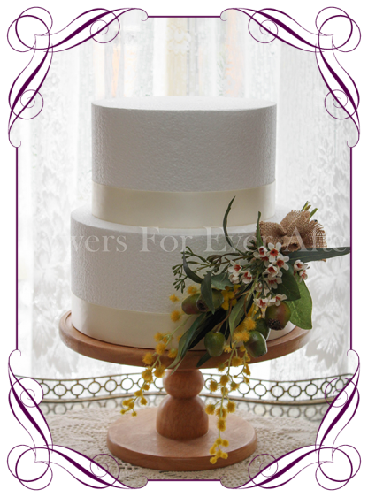 Silk artificial wattle Australian native gumnut and burlap cake topper decoration flowers. Buy online.