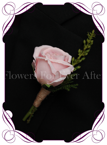 Silk artificial blush pink groom / groomsmans / gents wedding button boutonniere for wedding formal prom. Buy online.
