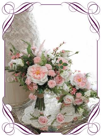 Pink silk artificial wedding bridal posy bouquet set / package. Realistic design in high quality roses, peonies and fine flowers. Buy online, shipping worldwide immediately.