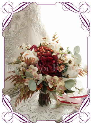 Silk Artificial Autumn / Fall wedding bridal bouquet package / set. Roses, peonies and berries in cream, burgundy, burnt orange and sage. Rustic unusual design. Made in Melbourne Australia. Buy online.