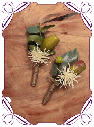 Silk artificial gumnut native mens grooms buttonhole boutonniere. Buy online