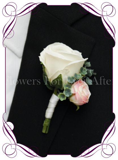 Silk artificial White and blush pink groom / groomsmans / gents wedding button boutonniere for wedding formal prom. Buy online.