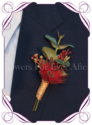Silk artificial red gum native mens grooms buttonhole boutonniere. Buy online