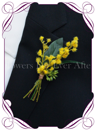 Silk artificial Australian native yellow wattle groom / groomsmans / gents wedding button boutonniere for wedding formal prom. Buy online.