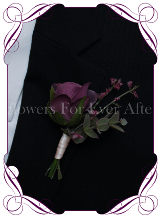 Silk artificial purple rose groom / groomsmans / gents wedding button boutonniere for wedding formal prom. Buy online.
