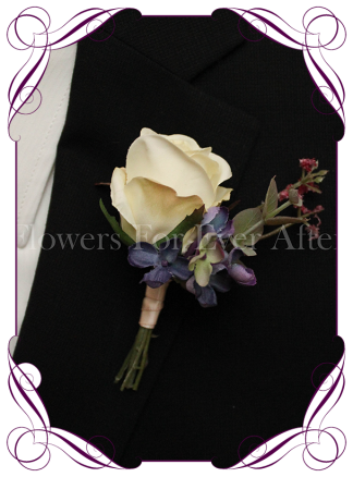 Silk artificial cream rose blue and burgundy groom / groomsmans / gents wedding button boutonniere for wedding formal prom. Buy online.