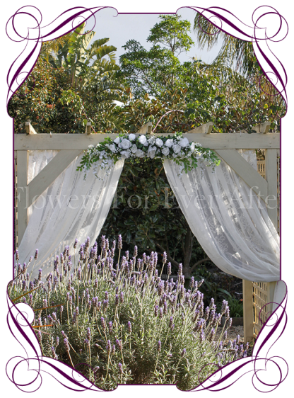 Silk artificial white roses, peonies, wisteria, baby's breath wedding arbor arch table decoration garland. Buy online. Shipping worldwide.