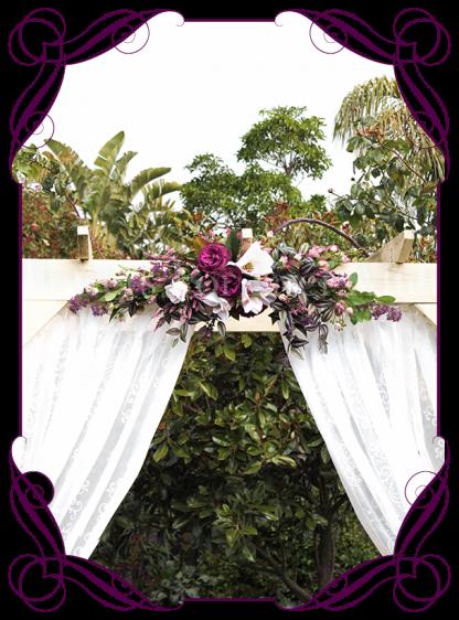 Silk artificial plum purple, blush pink wedding arbor arch table decoration garland. Lavender, peonies, roses, magnolia. Buy online. Shipping worldwide.