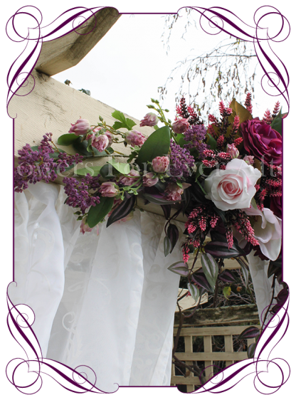 Silk artificial plum purple, blush pink wedding arbor arch table decoration garland. Lavender, peonies, roses, magnolia. Buy online. Shipping worldwide.