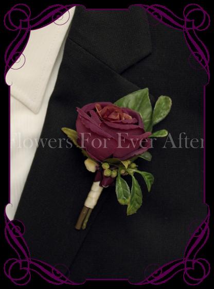 Silk artificial plum purple rose groom / groomsmans / gents wedding button boutonniere for wedding formal prom. Buy online.