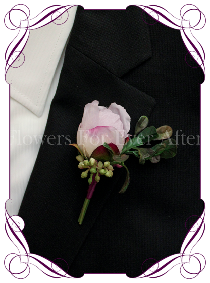 Silk artificial lilac bud groom / groomsmans / gents wedding button boutonniere for wedding formal prom. Buy online.