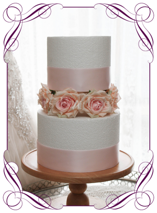 Pink rose silk artificial cake flowers for wedding engagement baby cakes.