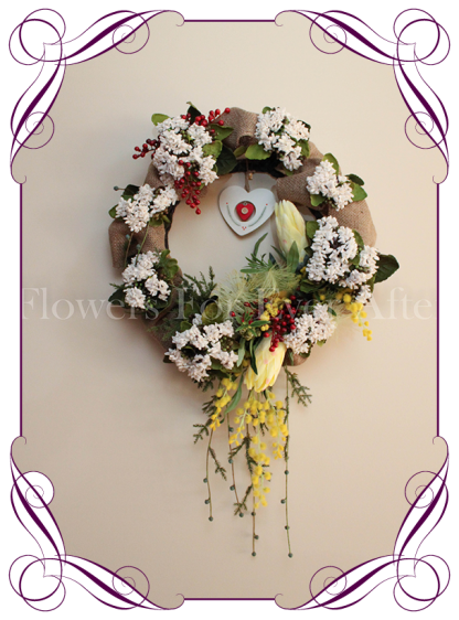 Rustic wattle yellow protea red berry burlap Christmas door wreath / hanger. Buy online. Shipping world wide.