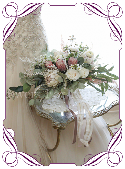 Silk artificial bridal wedding cascading large bouquet with ivory and dusty pink protea and roses . Rustic romantic wedding flowers. Shipping from Melbourne Australia, worldwide. Buy online.
