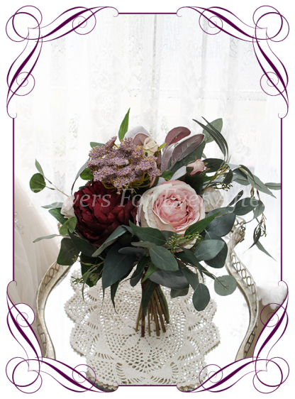 Silk artificial dusty pink, blush, mauve, and burgundy peonies, roses and Australian native bridesmaid bouquet wedding flowers. Burgundy wedding. Navy wedding. Dusty pink wedding. Blush pink wedding. Mauve wedding. Boho, whimsical rustic style posy. Made in Melbourne. Shipping world wide, buy online.