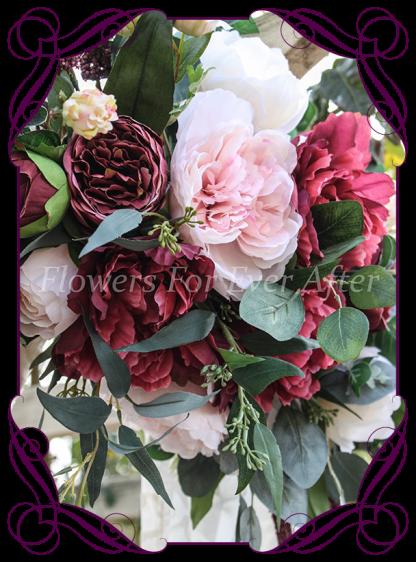 Silk artificial burgundy, blush pink, cream, rose gold, wedding arbor arch table decoration garland. Peonies, roses, native Australian gum leaves foliage. Buy online. Shipping worldwide.