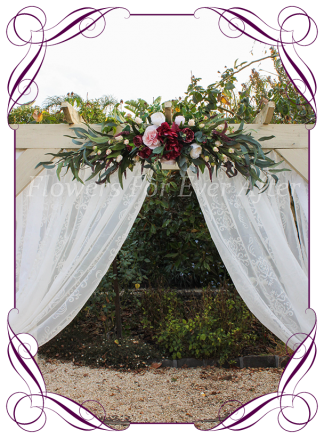 Silk artificial burgundy, blush pink, cream, rose gold, wedding arbor arch table decoration garland. Peonies, roses, native Australian gum leaves foliage. Buy online. Shipping worldwide.