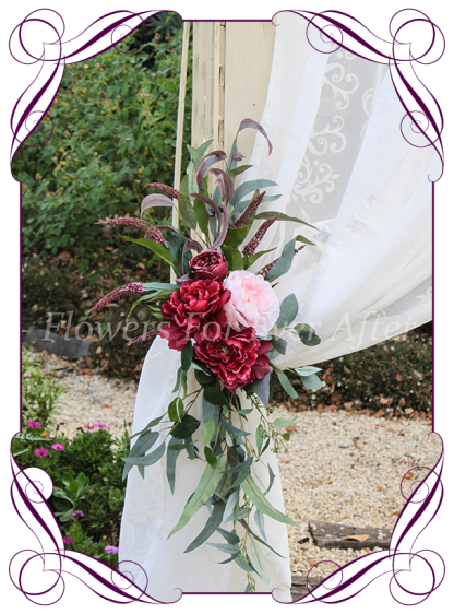 Silk artificial burgundy, blush pink, cream, rose gold, wedding arbor arch table decoration tie back. Peonies, roses, native Australian gum leaves foliage. Buy online. Shipping worldwide.
