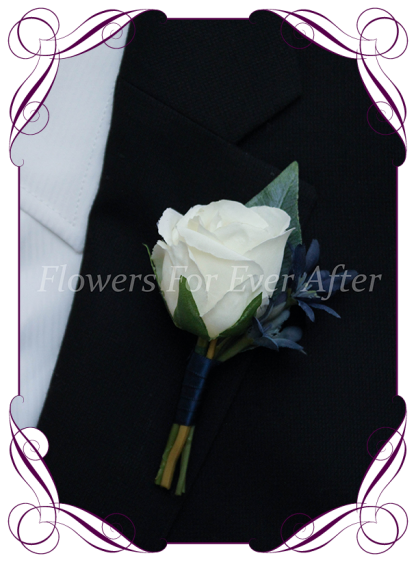 Silk artificial flower navy and white rose mens gents button boutonniere for wedding formal prom, made in melbourne, custom orders and worldwide shipping available.