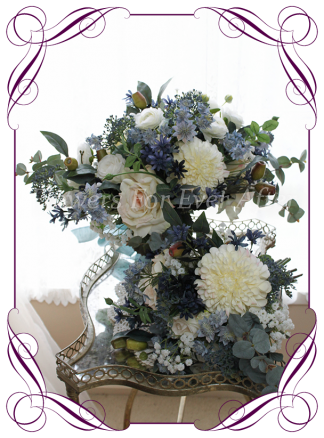 Silk artificial large flowing bridal bouquet spray posy with navy, dusty blue, blush champagne and white flowers. Dahlia, baby's breath, blue gum, roses, ranunculi. For wedding bridal flower package. Made in Melbourne Australia. Shipping world wide.