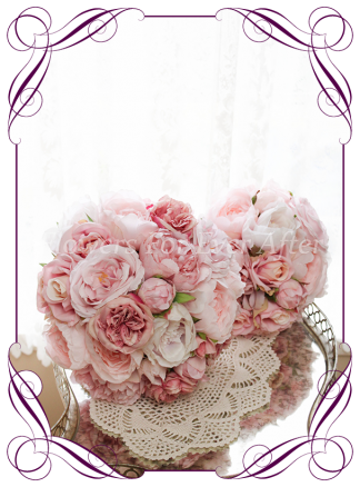 Silk artificial romantic pink peony and rose bridal bouquet elegant posy with pink, blush and rose gold peonies and roses / flowers. For wedding bridal flower package. Made in Melbourne Australia. Shipping world wide.
