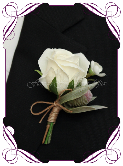 silk artificial native protea bud and rose mens gents button boutonniere for wedding, prom, formal. Grooms groomsmans flower