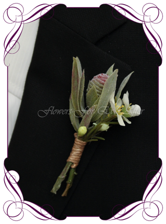 silk artificial native protea bud rustic mens gents button boutonniere for wedding, prom, formal. Grooms groomsmans flower