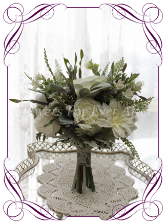 Silk artificial white and silver foliage wedding bridal bouquet posy. Roses dahlia peonies. Made in Melbourne Australia, quick post worldwide. Ready to go bouquet. Elopement. Eloping bouquet flowers.