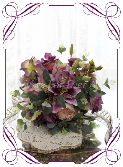 Silk artificial mixed purple and lilac elegant wedding bridal bouquet posy. Roses, lilies, native gum foliage leaves, peonies. Made in Melbourne Australia, quick post worldwide. Ready to go bouquet. Elopement. Eloping bouquet flowers.