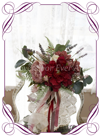 Silk artificial burgundy and dusty pink elegant wedding bridal bouquet posy. Roses, lavender, dahlia, native gum foliage leaves, peonies. Made in Melbourne Australia, quick post worldwide. Ready to go bouquet. Elopement. Eloping bouquet flowers.