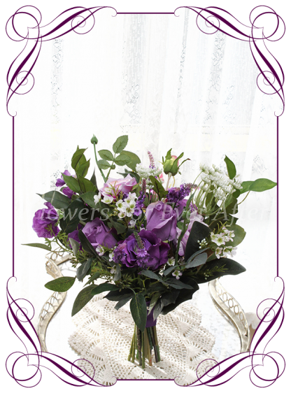 Silk artificial Cadbury purple and lilac rose bridesmaid bouquet elegant posy with mixed purple realistic quality flowers. For wedding bridal flower package. Made in Melbourne Australia. Shipping world wide.