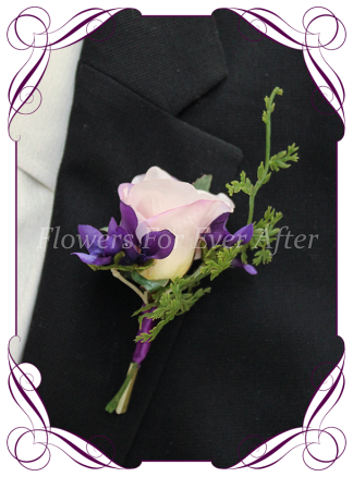 Silk artificial purple violets with lilac rose mens gents button boutonniere for wedding formal prom.