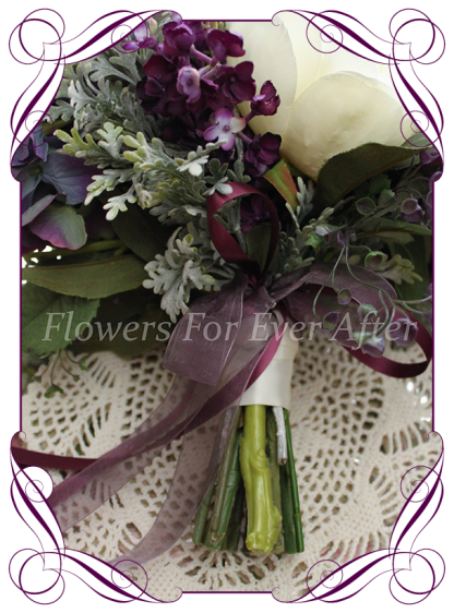Silk artificial mixed purple and lilac elegant wedding bridal bouquet posy. Roses, hydrangea, peonies. Made in Melbourne Australia, quick post worldwide. Ready to go bouquet. Elopement. Eloping bouquet flowers.