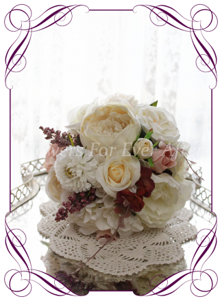 Silk artificial burgundy, ivory, and dusty pink elegant wedding bridesmaid bouquet posy. Roses, scabiosa, peonies. Made in Melbourne Australia, quick post worldwide. Ready to go bouquet. Elopement. Eloping bouquet flowers.