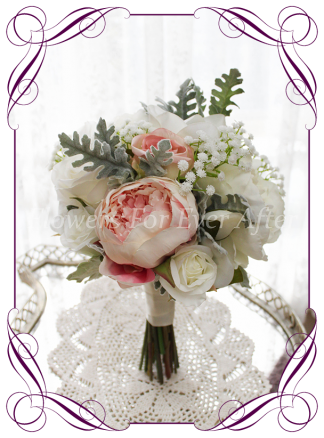 Silk artificial white and pink blush wedding bridal bouquet posy. Roses magnolia, baby's breath, peonies. Made in Melbourne Australia, quick post worldwide. Ready to go bouquet. Elopement. Eloping bouquet flowers.