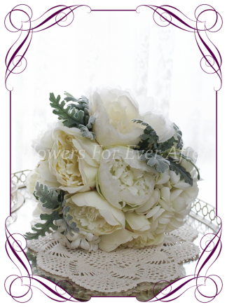 Silk artificial white and silver foliage wedding bridal bouquet posy. Roses hydrangea peonies. Made in Melbourne Australia, quick post worldwide. Ready to go bouquet. Elopement. Eloping bouquet flowers.