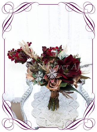Silk artificial unusual burgundy, champagne and paper origami moody vintage unique style bridal wedding bouquet. Paper origami flowers, blossom, magnolia, and roses. Shipping world wide. Made in Melbourne Australia