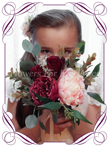 Silk artificial burgundy, ivory, navy and pink elegant wedding flowergirl bouquet posy. Roses, native gum foliage leaves, peonies. Made in Melbourne Australia, post worldwide. Elopement. Eloping bouquet flowers.